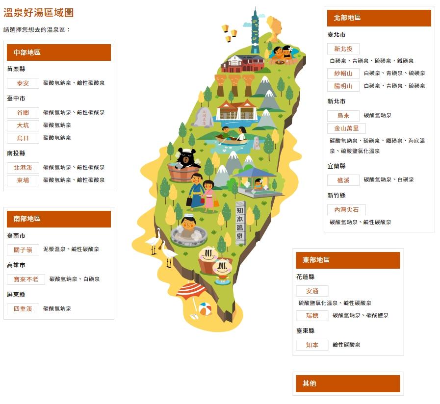 台灣好湯 溫泉區域圖